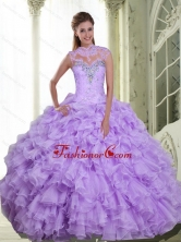 The Most Popular Beading and Ruffles Sweetheart Quinceanera Gown for 2015 SJQDDT9001FOR