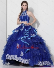 The Most Popular Halter Top Appliques Blue 2015 Quinceanera Dresses with Ruffles and Brush Train WMDQD023FOR
