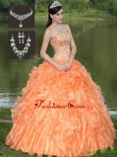 The Most Popular Orange Quinceanera Dresses with Beading and Ruffles Layered  ZY728AFOR