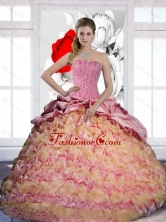 The Most Popular Pick Ups and Ruffles Sweetheart 2015 Quinceanera Dresses in Multi Color QDDTD28002FOR