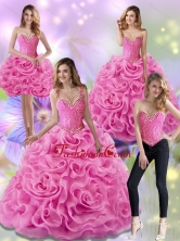 The Most Popular Rose Pink 2015 Quinceanera Dresses with Beading and Rolling Flowers SJQDDT18001FOR