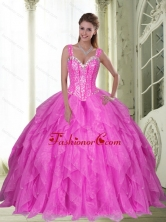 The Most Popular Sweetheart Beading and Ruffles Fuchsia Quinceanera Dresses for 2015 SJQDDT23002-2FOR