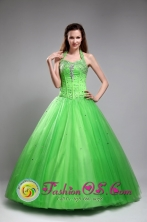 Tulle A-line Amazing Beaded Decorate Spring Green Halter Top Quinceanera Dresses  IN Treinta y Tres Uruguay Style ZYLJ22FOR