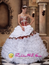 White Ball Gown Sweetheart Floor-length Quinceanera Dress With Organza and Leopard Ruffles   Salto Uruguay Style QDZY245FOR