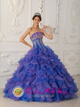 Wholesale beautiful Royal Blue and Purple Ruffles Appliques Decaorate Bust 2013 Quinceanera Gowns For Sweet 16 IN Tarariras Uruguay Style QDZY348FOR