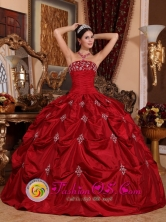 Wine Red Customize Pick-ups and Appliques Strapless Taffeta Wholesale Quinceanera Dress For 2013 Spring IN Tranqueras Uruguay Style QDZY230FOR