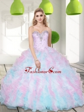 and Ruffles 2015 Quinceanera Dresses in Multi Color SJQDDT10002FOR