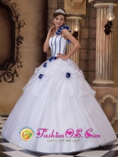 Celaya Mexico Wholesale Hand Made Flowers White One Shoulder Quinceanera Dress For Formal Style QDZY197FOR