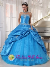 2013 Jose Azueta Wholesale Mexico Fall Sky Blue For Cheap Taffeta and Tulle Quinceanera Dress Appliques and Pick-ups Style PDZY619FOR