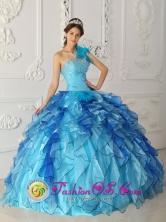 2013 San Nicolas de los Garza Mexico Wholesale Aqua Blue Discount One Shoulder Quinceanera Dress Beading Satin and Organza Ball Gown Style QDZY329FOR