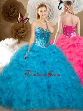 2016 Affordable Ball Gown Sweetheart Beading and Ruffles Sweet 16 Dresses SJQDDT485002-1FOR