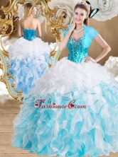 2016 Beautiful Ball Gown Sweetheart Quinceanera Gowns with Beading and Ruffles SJQDDT487002FOR
