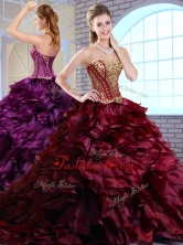 2016 Best Brush Train Ruffles and Appliques Quinceanera Gowns in Wine Red QDDTM1002-1FOR
