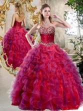 2016 Elegant A Line Sweetheart Beading and Ruffles Sweet 16 Dresses SJQDDT396002FOR
