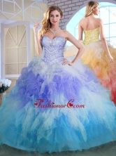 2016 Elegant Sweetheart Multi Color Quinceanera Gowns with Beading and Ruffles SJQDDT386002-1FOR