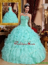 Recommended 2016 Exquisite Beading and Ruffles Quinceanera Dresses in Apple Green  QDZY663CFOR