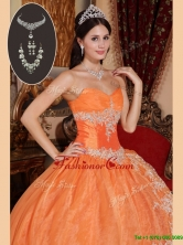 Recommended 2016 Exquisite Orange Red Quinceanera Gowns with Beading and Appliques  QDZY308CFOR