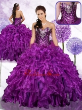 2016 Fashionable Ball Gown Sweet 16 Dresses with Ruffles and Sequins SJQDDT460002FOR