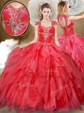 2016 Hot Sale Sweetheart Beading and Red Quinceanera Dresses QDDTQ1002FOR