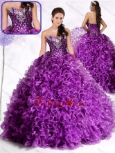 2016 Luxurious Ball Gown Sweetheart Ruffles and Sequins Quinceanera Dresses SJQDDT467002FOR