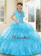 2016 New Style Ball Gown Aqua Blue Sweet 16 Gowns with Beading and Ruffled Layers QDDTD38002FOR