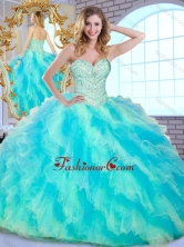 2016 Pretty Ball Gown Multi Color Sweet 16 Dresses with Beading and Ruffle SJQDDT378002FOR