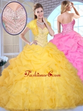 2016 Pretty Ball Gown Sweetheart Beading and Pick Ups Quinceanera Gowns SJQDDT374002FOR