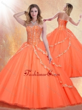 2016 Romantic Sweetheart Brush Train Quinceanera Gowns with Beading SJQDDT407002FOR