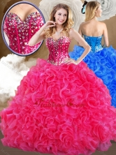 2016 Super Hot Sweetheart Hot Pink Quinceanera Gowns with Ruffles SJQDDT482002-2FOR