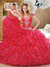2016 Wonderful Red Sweet 16 Dresses with Beading and Ruffles SJQDDT473002-2FOR