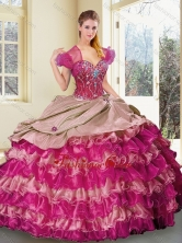 2016 Wonderful Sweetheart Multi Color Quinceanera Gowns with Ruffled Layers SJQDDT362002FOR