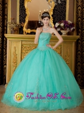 Aguascalientes Mexico Wholesale Affordable Turquoise Organza Beading 2013 Spring Ball Gown Quinceanera Dress tyle QDZY218FOR