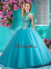 Artistic Big Puffy Halter Top Quinceanera Dress with Beading and Appliques SJQDDT619002FOR