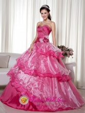 Campeche Mexico Customize Wholesale Sweetheart Beading Decorate Hot Pink  Taffeta and Organzaand Hand Made Flower Pretty Quinceanera Dress Style ZY749FOR