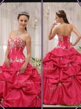 Recommended Sweetheart Appliques Quinceanera Gowns with in Coral Red   QDZY655DFOR