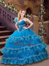 Classical Applique and Ruffled Blue Quinceanera Dress with One Shoulder XFQD1003FOR