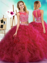 Classical Beaded and Ruffled Fuchsia Sweet 16 Dress with See Through SJQDDT603002FOR