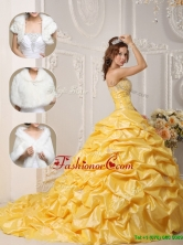 Recommended Court Train Quinceanera Gowns with Pick Ups and Appliques for 2016 QDZY008DFOR