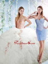 Classical Organza White Detachable Sweet 16 Dresses with Beading and Ruffles SJQDDT539002AFOR