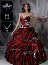 Recommended Classical Strapless Quinceanera Dresses in Burgundy  JMCHSD083101DFOR
