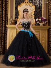 Culiacan Mexico Wholesale Black and Aqua Tulle Strapless Elegant Quinceanera Dress With Appliques Decorate and Bow Band Style QDZY113FOR