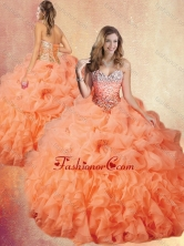 Customized Brush Train Sweet 16 Gowns with Ruffles and Pick Ups SJQDDT437002FOR