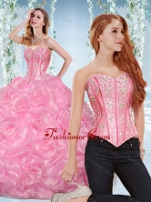 Discount Organza Rose Pink Detachable Quinceanera Gown with Beading and Bubbles SJQDDT535002AFOR