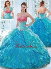 Elegant Beaded Bodice and Ruffled Sweetheart Detachable Quinceanera Dress SJQDDT542002FOR