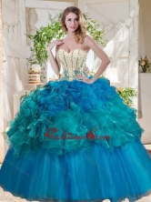 Elegant Beaded and Ruffled Really Puffy Quinceanera Dress in Teal and Blue SJQDDT726002FOR