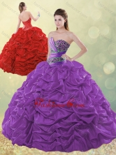 Exclusive Beaded and Bubble Purple Quinceanera Dress in Taffeta SJQDDT497002FOR