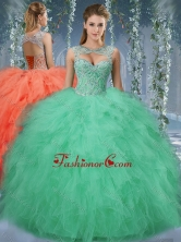 Exquisite Beaded and Ruffled Big Puffy Quinceanera Gown in TurquoiseSJQDDT570002FOR
