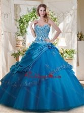 Fashionable Beaded and Applique Big Puffy Quinceanera Gown in Teal SJQDDT716002FOR