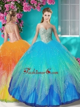 Fashionable Beaded and Applique Quinceanera Dress in Multi Color SJQDDT608002FOR
