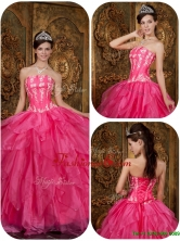 Recommended Fashionable Hot Pink Sweet 16 Dresses with Appliques and Ruffles QDZY003DFOR